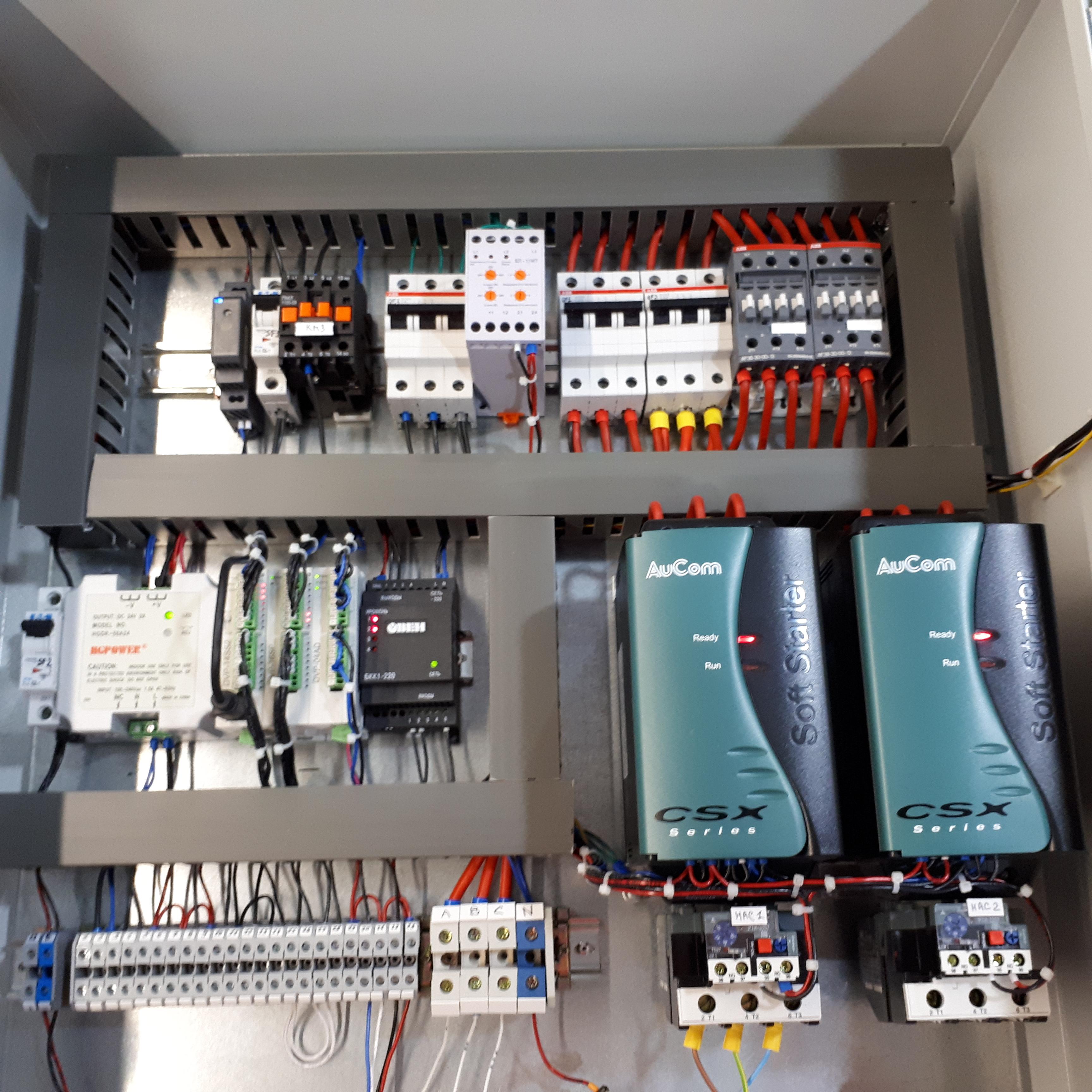 Шкаф управления 2-мя погружными насосами, 2-мя перекачивающими насосами, задвижкой, дополнительными функциями. Управление сенсорной панелью оператора.