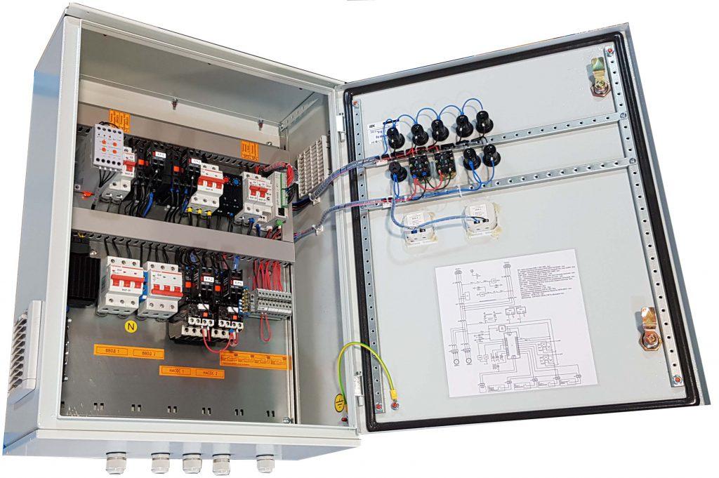 Шкаф управления двумя насосами КНС с двумя вводами электроэнергии и АВР